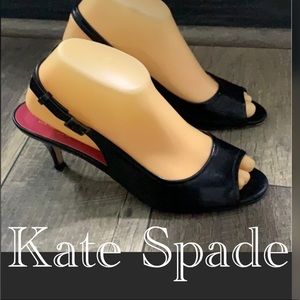 Authentic Kate Spade black leather heels pumps 8.5